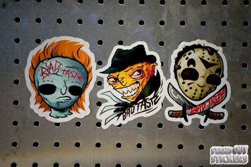 All 3 of these spooky custom stickers