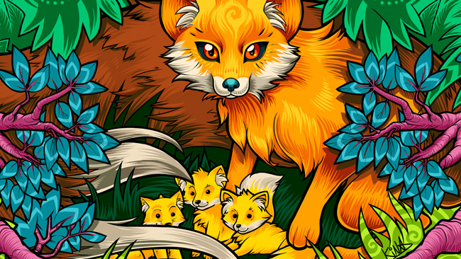 fox-stickers-march-sticker-of-the-month-custom-stickers-kina-forney-kina-ink