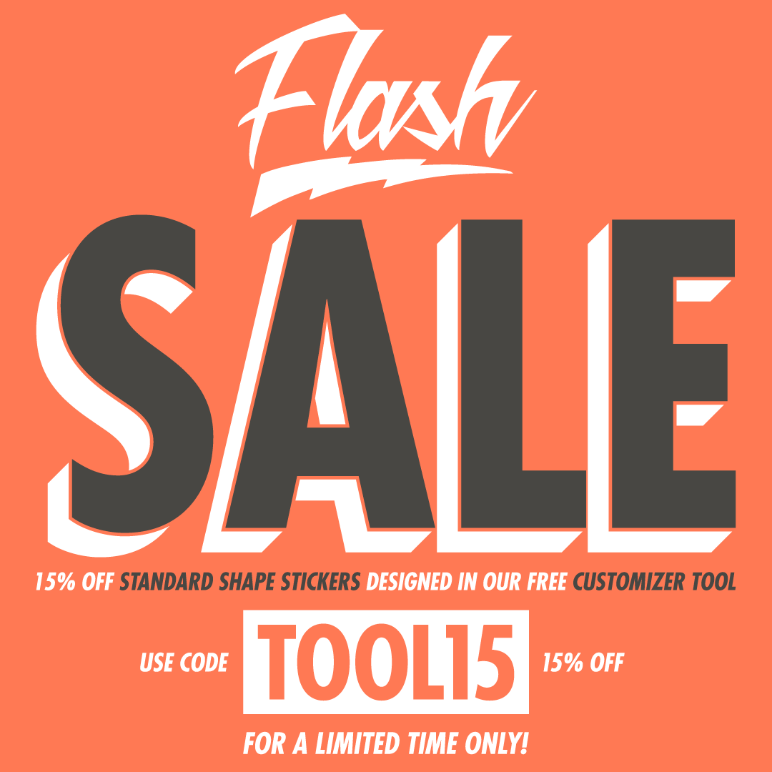 15 off standard shape custom stickers
