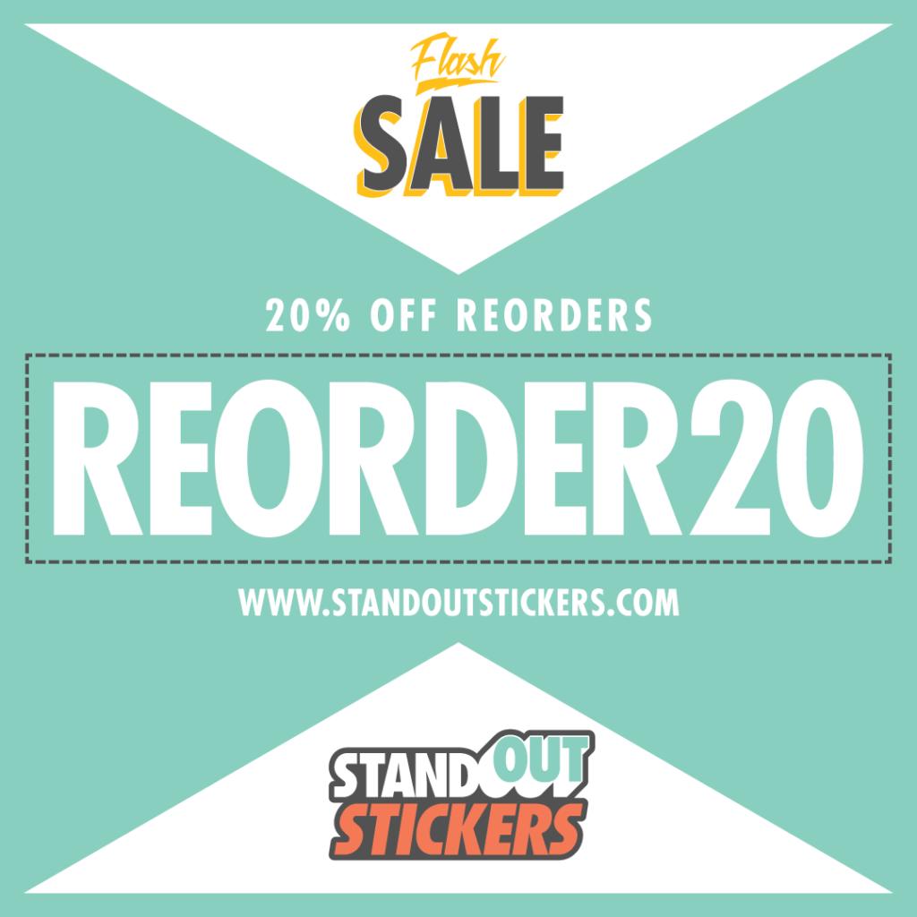 20 off sticker reorders
